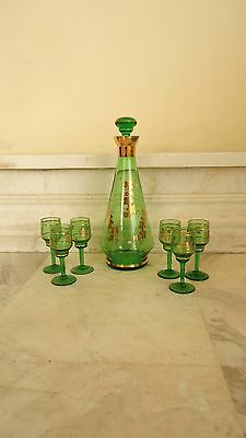 Vintage Green Glass Decanter with 6 Shot Glasses