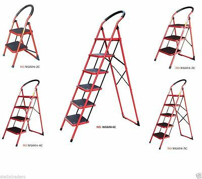 Heavy Duty Non Slip Fold able  Strong Steel Step ladder 2,3,4,5,6 step ladders