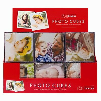 4 x Photo Cube Picture Frame Ideal Gifts (9 cm x 9 cm) 6 Pictures Decoration