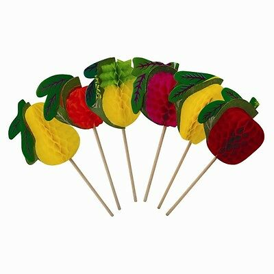 36 x FRUIT COCKTAIL STICKS PAPER POP OUT DRINKS PARTY DRINKING DECORATION BAR