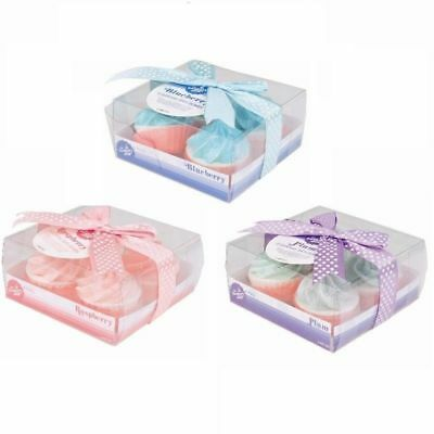 New In Display Box 4 Cup Cake Bath Bombs, Plum, Blueberry, Raspberry You Choose