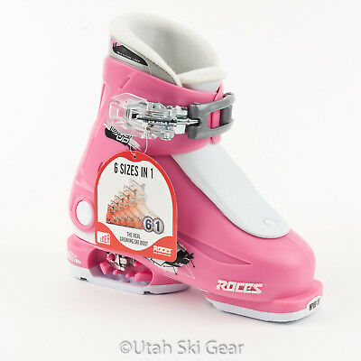 Roces Adjustable Ski Boots for Kid's Deep Pink/White New 16.0-18.5 Junior