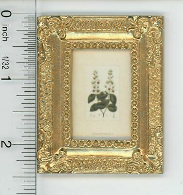 Dollhouse Miniature Gold Framed Picture of a Flowering Plant Botanical Print