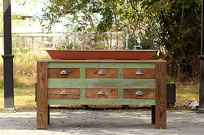 """Reclaimed 60"""" Barn Wood Bath Vanity Cabinet Cast Iron Trough Sink Apothecary"""