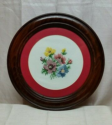 Finished Completed & Framed Under Glass Counted Cross Stitch Flowers Round -BX80