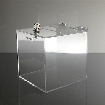 Medium clear acrylic raffle Charity Ballot Donation Box  w/lock 8 x 8 x 8