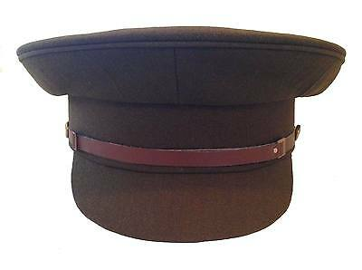 British Army No 2 Cap, Service Dress Hat, Military, Khaki, Brown Chinstrap