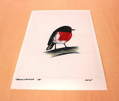SALE! PRINT, Red Robin, Bird, Print of Original Watercolor Painting, last print