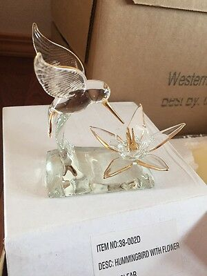 Hummingbird With Flower Clear Glass Gold Trim No 38-002D New