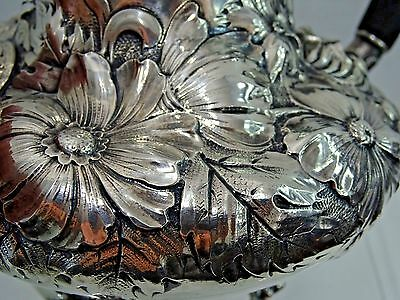 MAGNIFICENT ANTIQUE STERLING SILVER TEA SET superb quality hand chased repousse