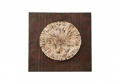 """34"""" L Medalion round square panel wall art abstract dark brown rusty white"""