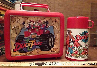 Disbey's DuckTales Vintage Plastic Lunchbox & Thermos COMPLETE 1986 DUCK TALES