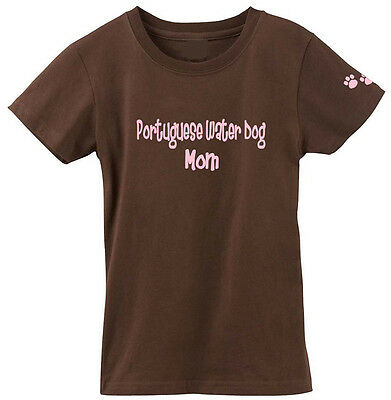 Portuguese Water Dog Mom Tshirt Ladies Cut Short Sleeve Adult Small