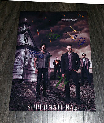 "Supernatural Pp Signed 12""x8"" A4 Photo Poster Jared Padalecki Jensen Ackles S9"