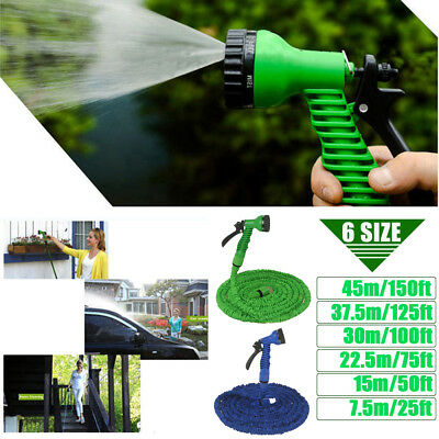Magic Flexible Expanding Water Garden Hose Pipe Spray Gun 25 50 75 100 125 150Ft