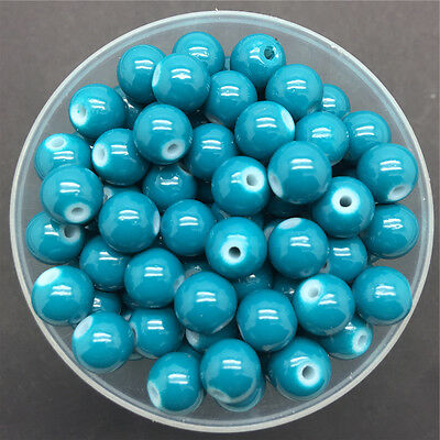 NEW DIY 8mm 30PCS Sea Blue Glass Round Pearl Spacer Loose Beads Jewelry Making