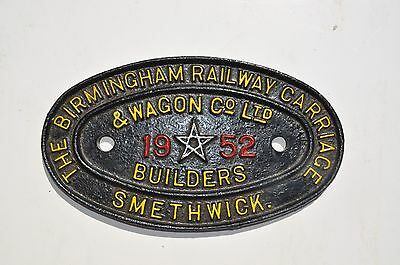 Train carriage builders plate