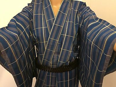 Authentic vintage handmade Japanese blue polyester kimono for women (G345)