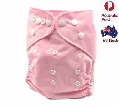 Original Solid Pink Modern Cloth Nappy/ Nappies with Hip Snaps Free Insert (P6)