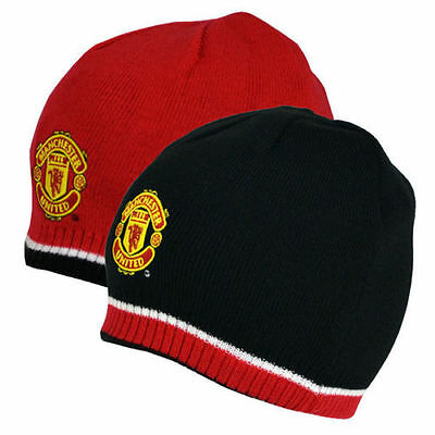 Manchester United Fc Reversible Knitted Beanie Hat Cap Winter New Xmas Gift