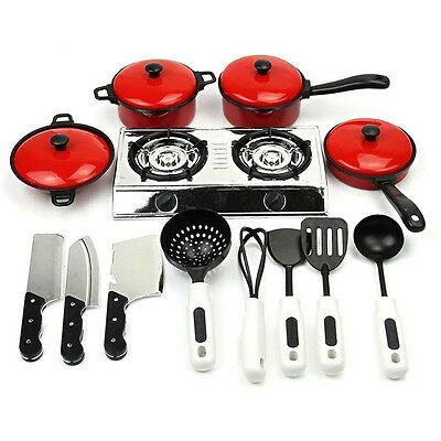 Kids Play HouseToy Kitchen Cooking Food Utensils Pans Pots Dishes Cookware Hot