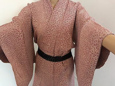 Authentic vintage handmade silk crepe Japanese kimono for women,pink/stars(G350)