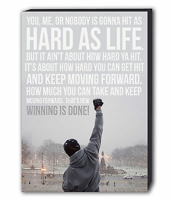 Rocky Balboa Quote Canvas Wall Art Framed Picture Print Boxing - Various Sizes
