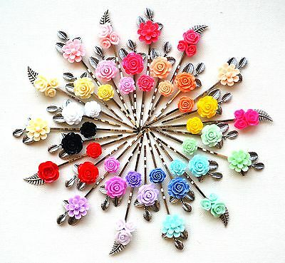 Silver Hair Pin Grip Clips Slides Bobby Accessory Flowers Rose Retro Wedding