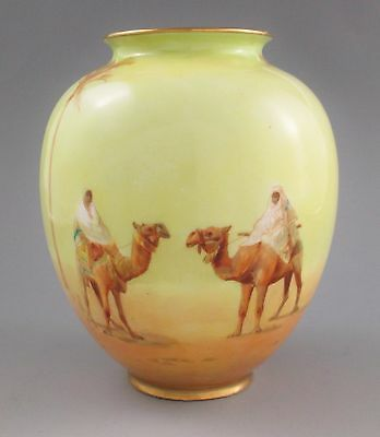 ROYAL DOULTON Robert Allen Studio Desert Scene Vase by Harry Allen c.1905 Signed