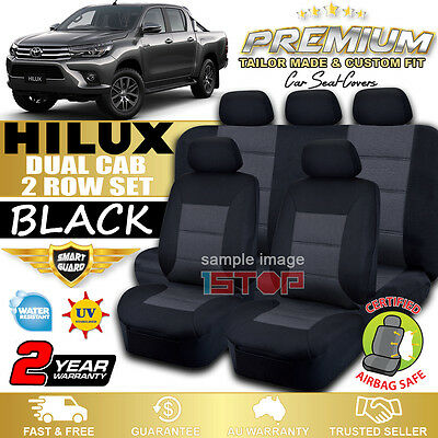 Toyota Hilux Sr Sr5 Dual Cab 7/2015-2018 Black Custom Fit Seat Covers Double Cab