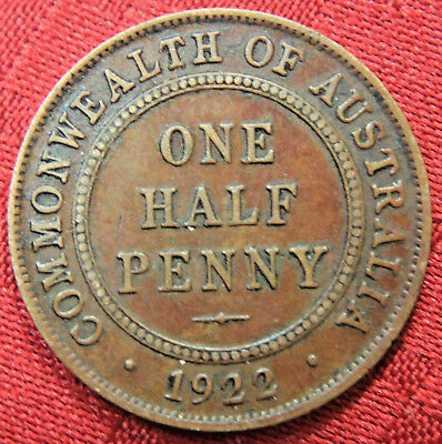 1922  KGV HALF PENNY - RARE and Circulated Coin,  Great Investment - EF+??