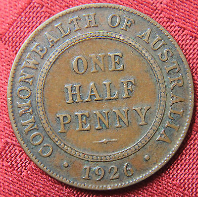 1926  KGV HALF PENNY - RARE and Circulated Coin,  Great Investment - VF+??