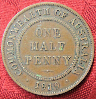 1919  KGV HALF PENNY - RARE and Circulated Coin,  Great Investment - VF??