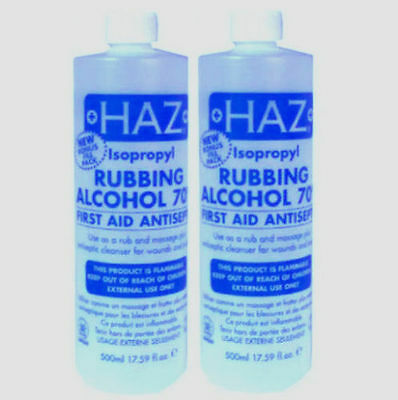 2X Haz Isopropyl Rubbing Alcohol 70% 500ml + Free P&P