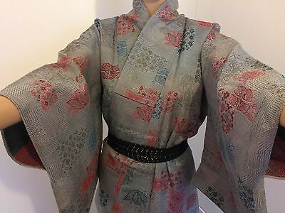 Vintage authentic handmade linen Japanese kimono for women, grey/flowers (H355)