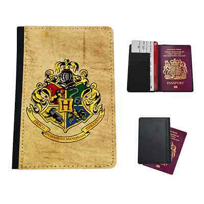 Hogwarts Crest Tan Harry Potter Faux Leather Passport Holder Flip Cover Case