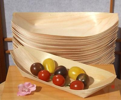 Large Wood Boats x 100 for finger foods, snacks and party foods (225X125mm)