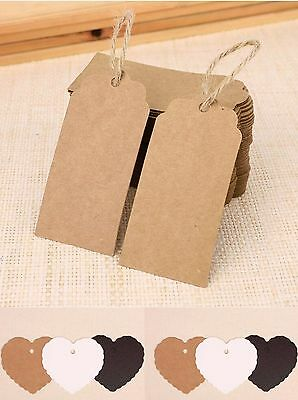 100 Kraft Paper Gift Tags Scallop Heart Label Luggage Wedding Blank + Strings