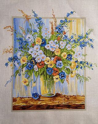 """Gobelin Tapestry Needlepoint Kit """"flowers"""" hand embroidery printed canvas 490"""