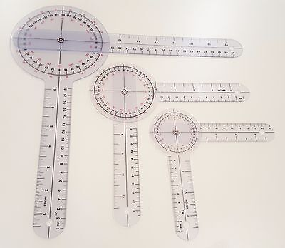 3 PIECE SPINAL GONIOMETER PROTRACTOR RULER 360 DEGREE Set 12 inch 8 inch 6 inch