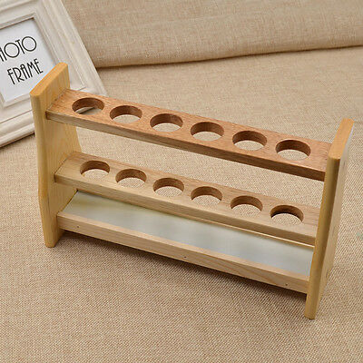 1pc Wooden 6 Holes Test Tube Storage Rack for Hospital Chemistry Lab Supply