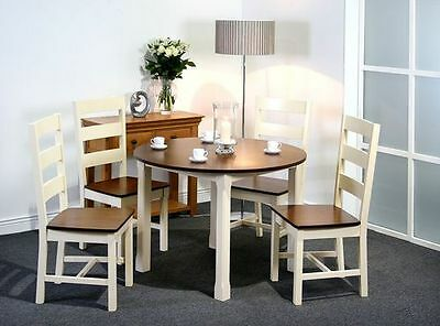 Greenheart Ireland Turin Walnut and Cream Dining Round Table and Four Chairs.