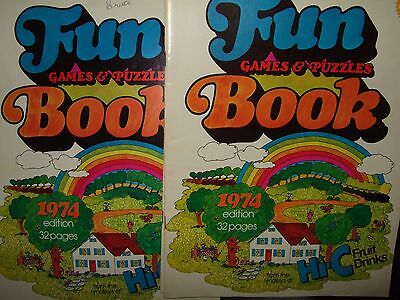 lot 3 partially used vintage 1974 hi-c fruit drink fun games & puzzles book