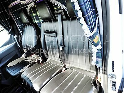 MERCEDES SPRINTER / VW CRAFTER Van Seat Covers Vertical Quilt PVC - X121BK-GY