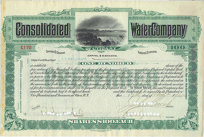 USA Amerika Consolidated Water Company alte Aktie 1905 dekorativ