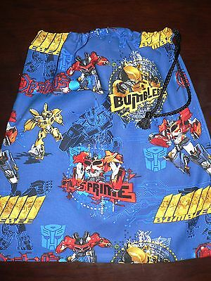 Handmade library bag first name embroidered free  Transformers prints (A)
