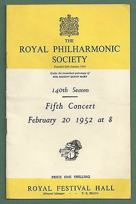 1952 Programme Royal Philharmonic Society Concert Royal Festival Hall 20Th Feb