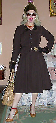 1950's brown wool mix 2 piece peplum full-sweep skirt suit by House of Youth 10