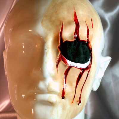 Lost eye gory face scratch claw wound! Deep, detailed latex scar, Halloween, UK