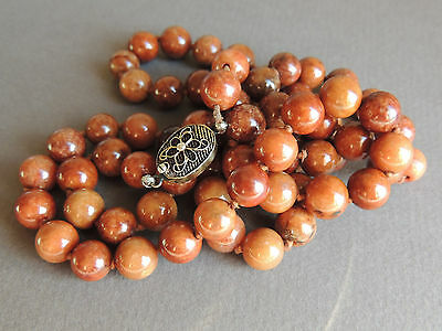 Old Chinese Untreated Red Jade Necklace Silver Filigree Clasp